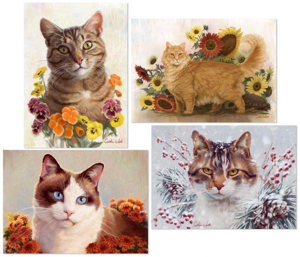 cat artwork greeting cards