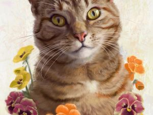cat painting pansies