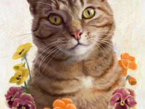 cat painting pansies