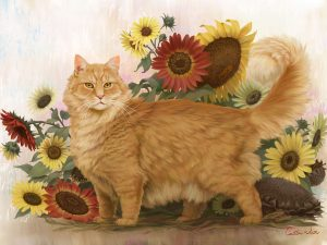 cat painting sunflowers