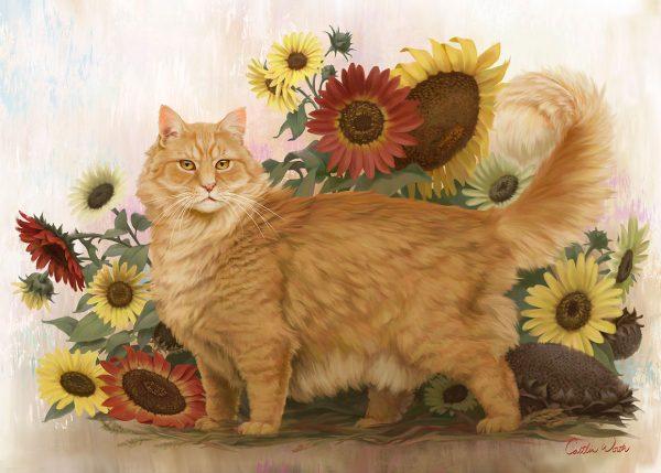 cat painting sunflowers