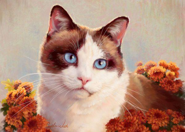 cat painting autumn siamese